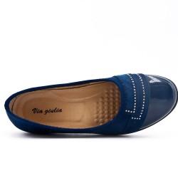 Chaussure confort bleu marine ornée de strass