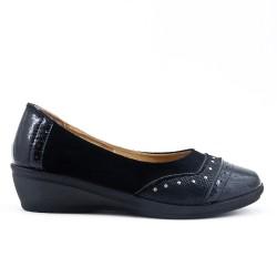 Chaussure confort noir bi-matière avec petit compensé