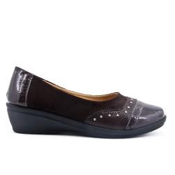 Chaussure confort marron bi-matière avec petit compensé