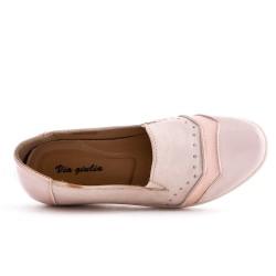 Chaussure confort rose à petit compensé