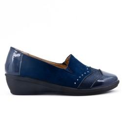 Chaussure confort bleu marine à petit compensé