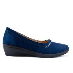 Chaussure confort bleu marine en simili daim