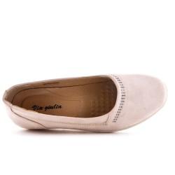 Chaussure confort rose en simili daim