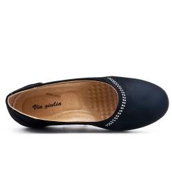 Chaussure confort noir en simili daim