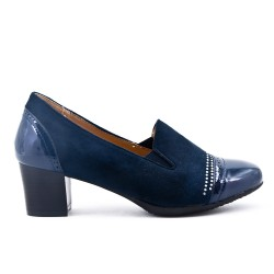 Navy blue two-material pump with rhinestones
