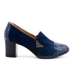 Navy blue two-material pump with elastic panel