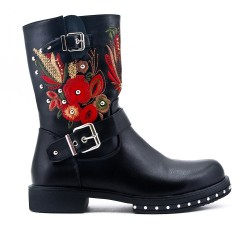 Black imitation leather ankle boot with embroidery
