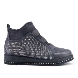 Gray ankle boot with rhinestones