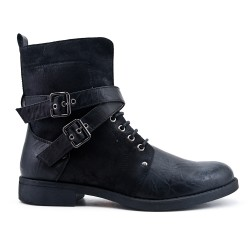 Black ankle boot with buckled straps