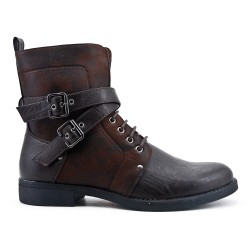 Brown ankle boot with buckled bridles