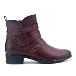 Red imitation leather ankle boot with zipper