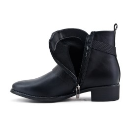 Black imitation leather ankle boot with zipper