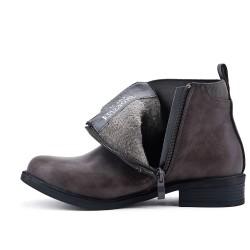 Bottine grise en simili cuir à fermeture zippé