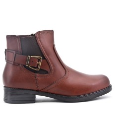 Brown imitation leather ankle boot with flange