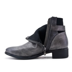 Gray leatherette ankle boot