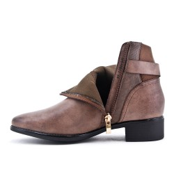 Bottine kaki en simili cuir