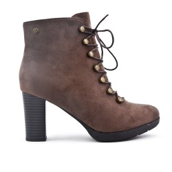 Ankle boots in faux suede with lace