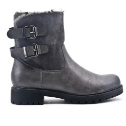Gray ankle boot with flange at the back