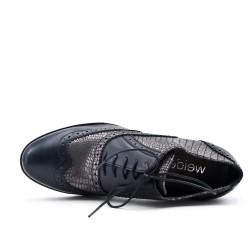 Bottine basse noire en simili cuir à lacet