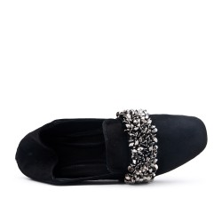 Black loafer with flowers