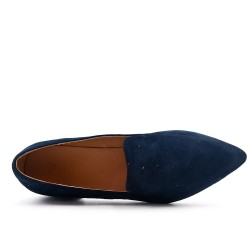Navy moccasin with pointed toe