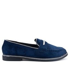 Navy moccasin in faux suede