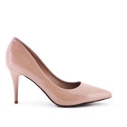 Pink stiletto pump with stiletto heel