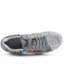 Gray sequined lace-up sneaker