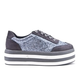 Gray sequined sneaker with platform