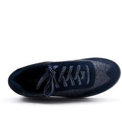 Sequined navy blue sneakers with platform