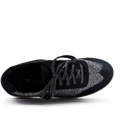 Black sequined basket with platform