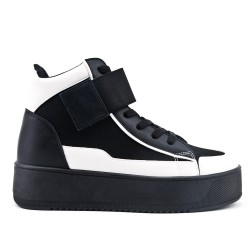 Black high-top sneaker with lace