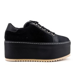 Black basketball platform with lace ribbon