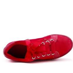 Basket rouge plateforme à lacet ruban
