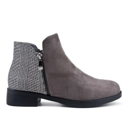 Gray Checked Ankle Boot