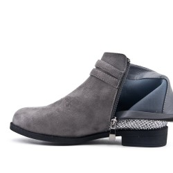 Gray ankle boot with bridle