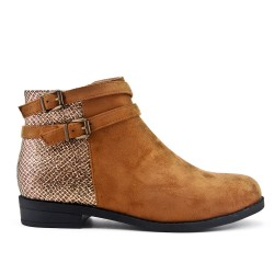 Camel ankle boot in faux suede with a strap