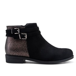 Black ankle boot in faux suede with a strap