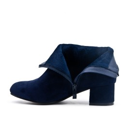 Navy blue suede ankle boot with small heels