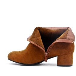 Camel ankle boot in faux suede with a small heel