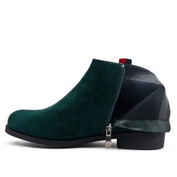 Green ankle boot in faux suede