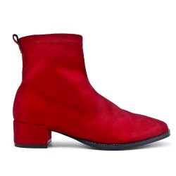 Red suede imitation leather ankle boot