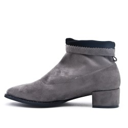 Gray ankle boot in sock faux suede