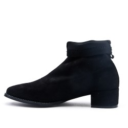 Black ankle boot in faux suede with sock pattern