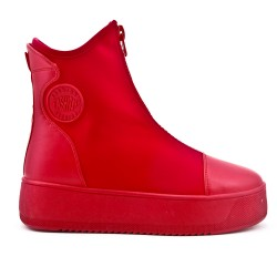 Red sock boot with zipper