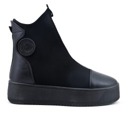 Black sock boot with zipper