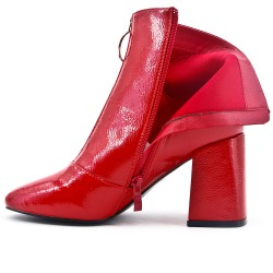 Red ankle boot with thick heel