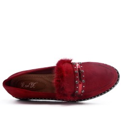 Red moccasin in faux suede with feather