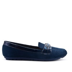 Blue moccasin in faux suede with rhinestone straps