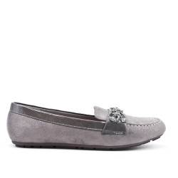 Gray moccasin in faux suede with rhinestone straps